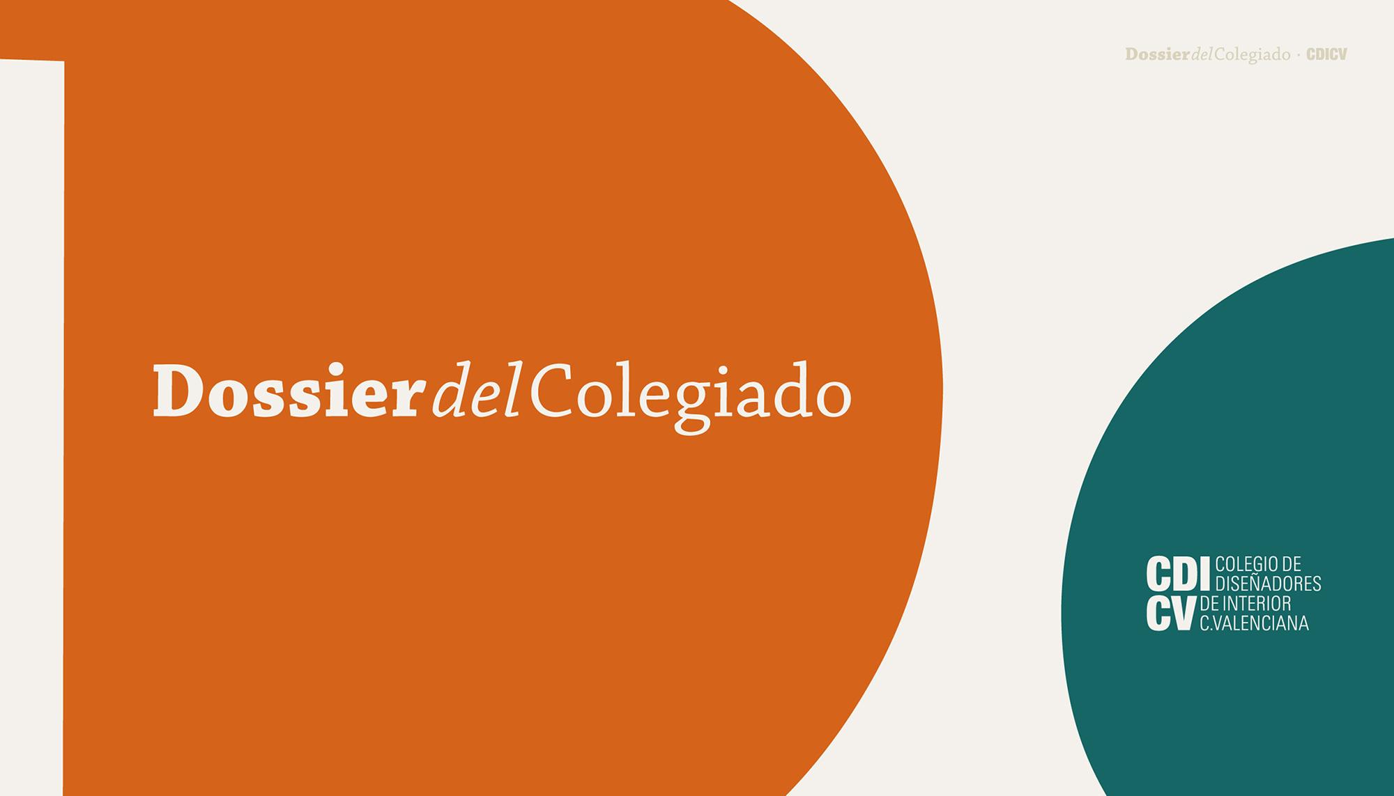 Proyecto de diseño gráfico para el CDICV. Dossier del Colegiado es un documento con toda la información relevante para miembros del Colegio Oficial de Diseñadores de Interior de la Comunidad Valenciana. Con el patrocinio de Porcelanosa, Empresa EAD.